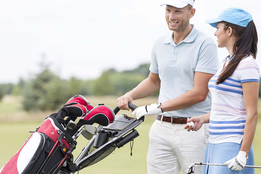 How to put a Golf Bag on a Push Cart
